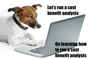 Dog running cost benefit analysis for responsive website.