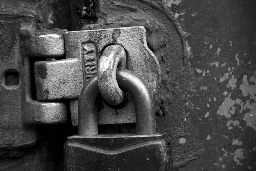 Lock symbolizing stored information issues