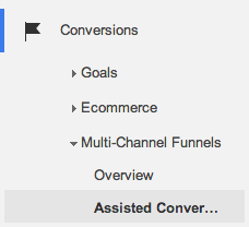 Assisted conversion report for multi-channel funnels