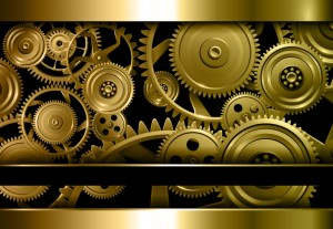 Beautiful golden gears representing automated workflows in action