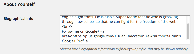 Add Google Authorship link to user biography