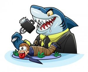 A payday loan shark getting ready to eat a person.