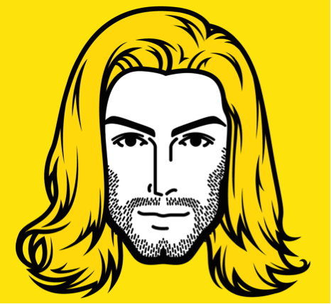 Example persona face -- the statuesque face of a male with a strong jawline and long, flowing locks of golden hair