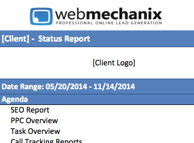Screen shot of the monthly SEO report sent to clients.
