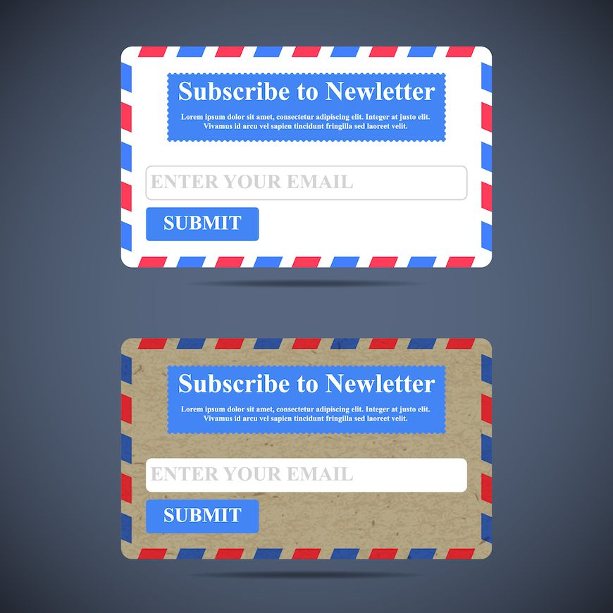 2 different newsletter subscription forms juxtaposed (yeah I used that 10 cent word).