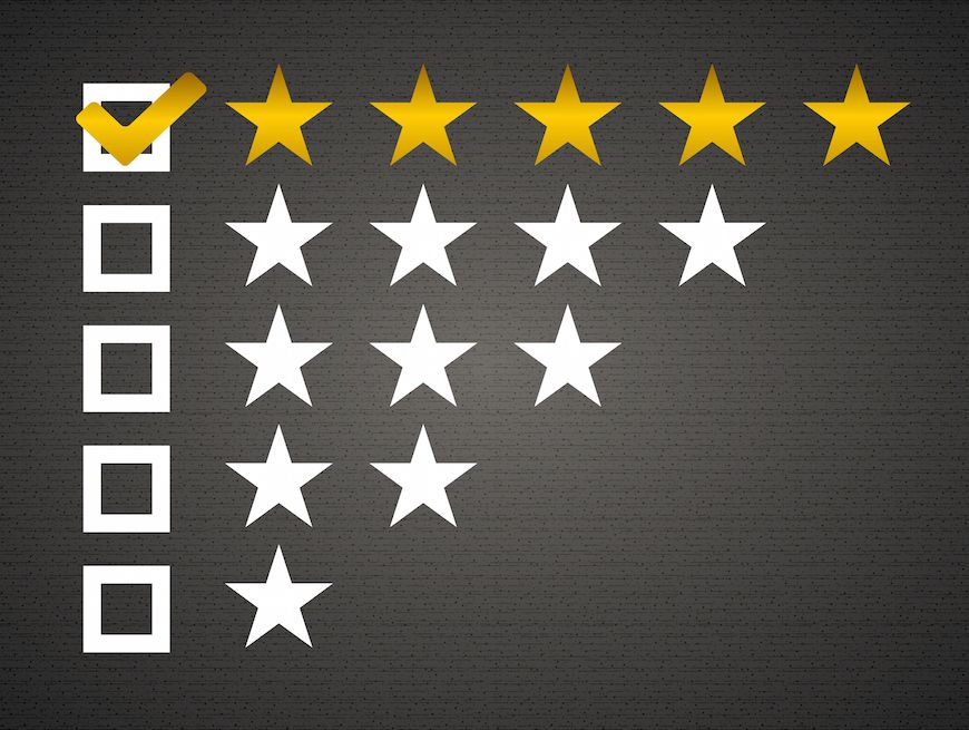 Excellent customer service symbolized as a coveted five star review.