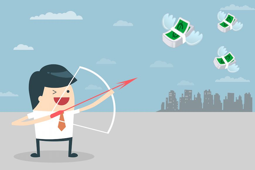 Smarter lead management depicted as a small business salesman targeting high quality leads with a bow and arrow.