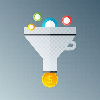 Funnel symbolizing marketing and sales lead funnel.
