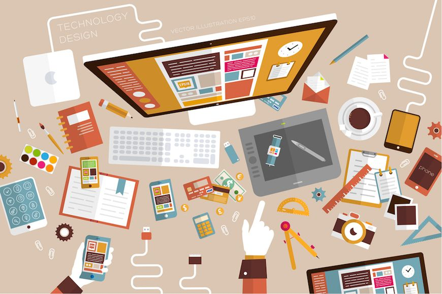 Lead generation services symbolized by illustration of a messy marketer's desk.