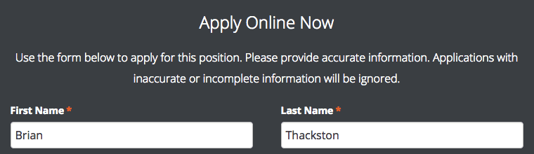 Screenshot of an application form on a website.