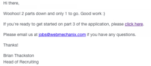 Email example asking applicant to proceed to step 3