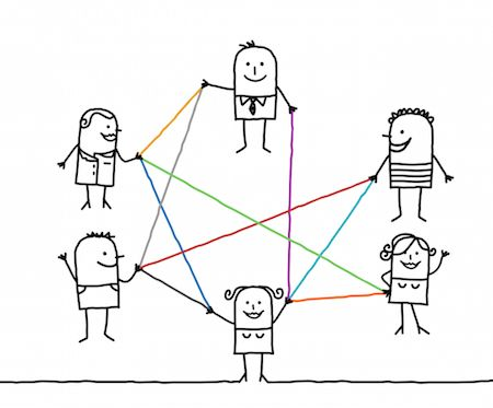 Group of people connected by lines illustrating diversity of purpose in email sends