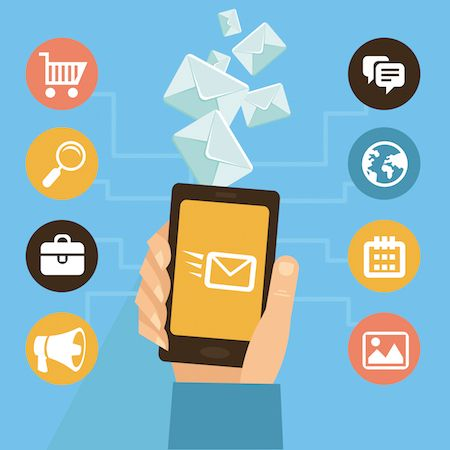 Phone and icons symbolizing email marketing automation software solutions.
