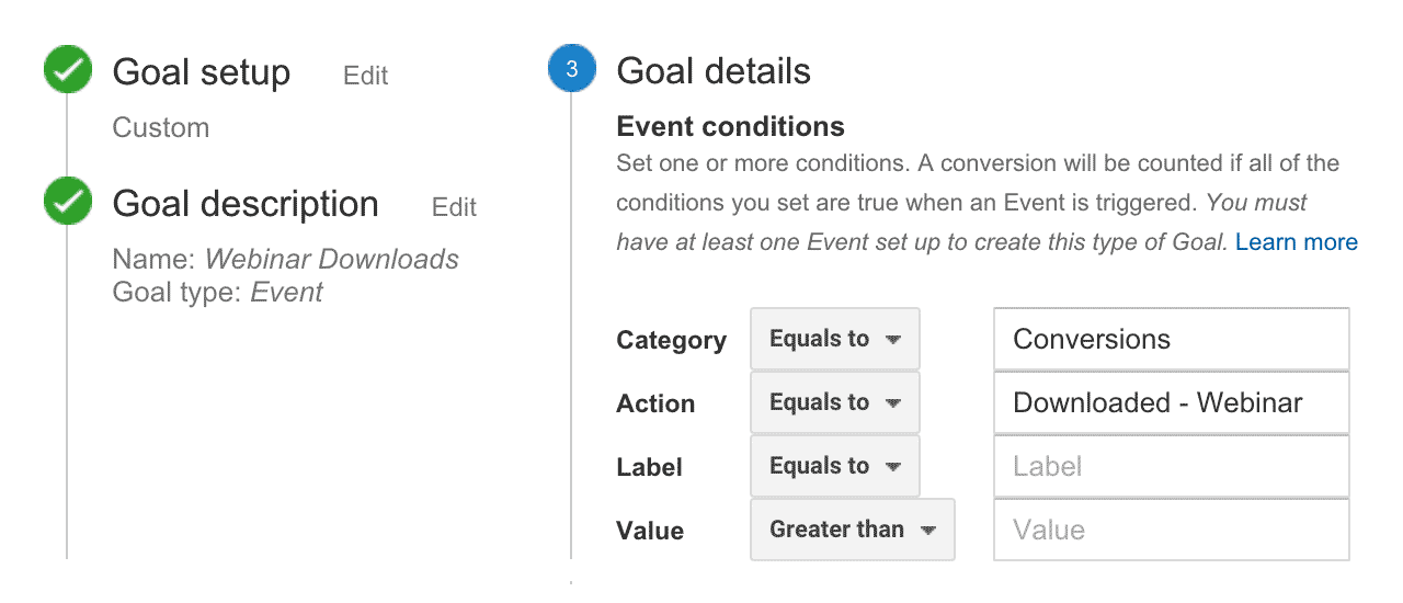 Google Analytics - Event Based Goal Configuration