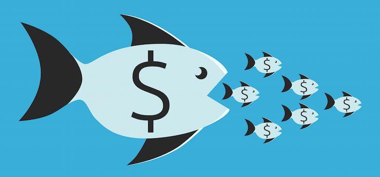 Big fish eating smaller fish symbolizing Google antitrust inquiries.