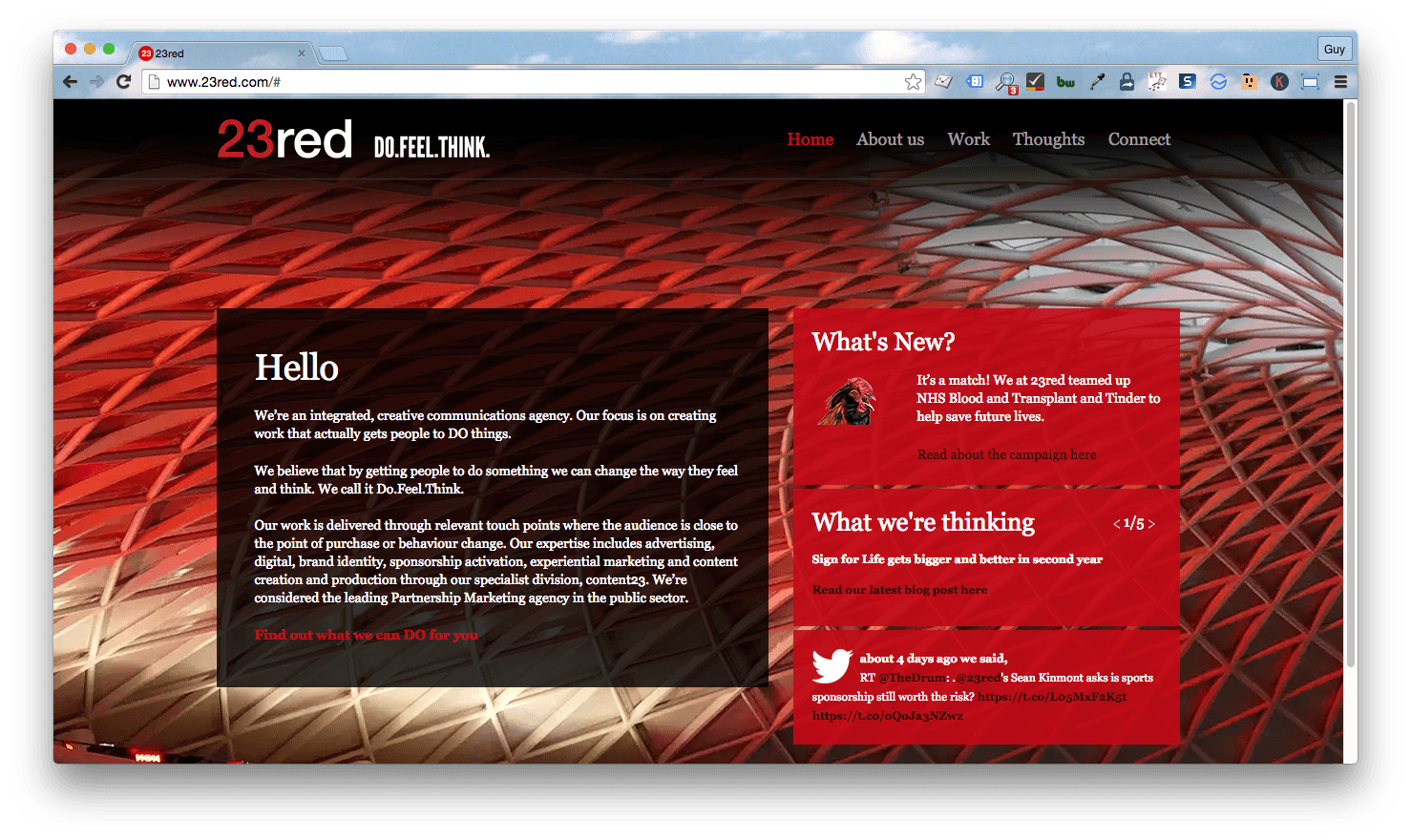 Homepage screenshot of London creative communications agency, 23Red.
