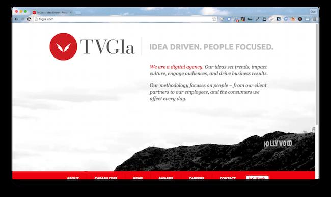 Homepage screenshot of Los Angeles digital agency, TVGla.