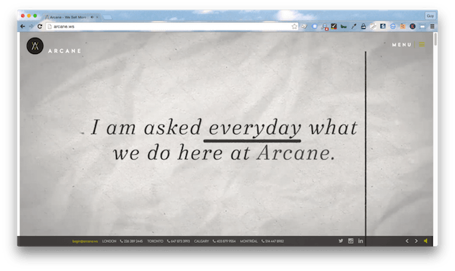 Homepage screenshot of London creative agency, Arcane.