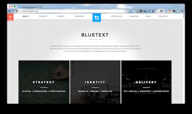 Homepage screenshot of Washington DC branding agency, Bluetext.