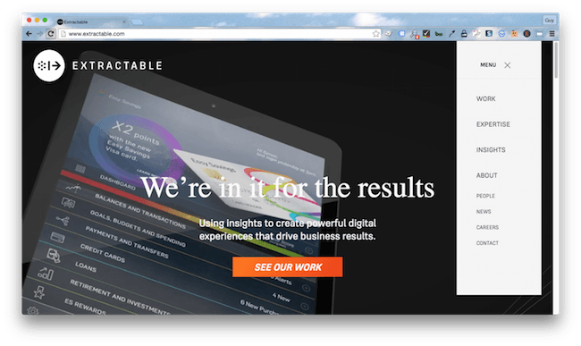 Homepage screenshot of California design agency, Extractable.