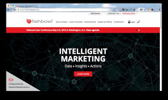 Homepage screenshot of Virginia restaurant data agency, Fishbowl.