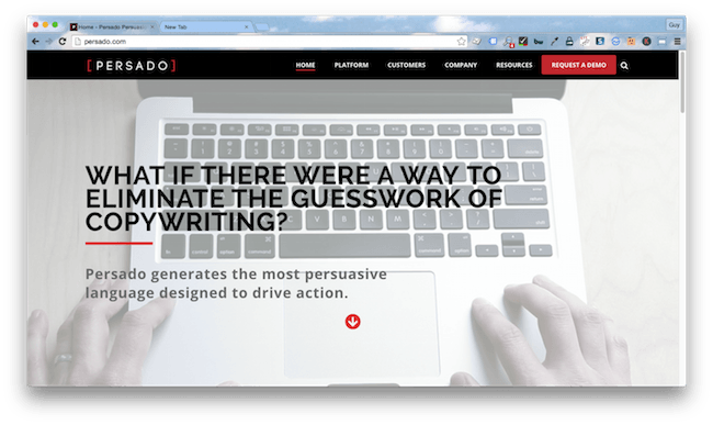 Homepage screenshot of New York copywriting agency, Persado.