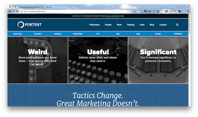 Homepage screenshot of Seattle, WA digital marketing agency, Portent.