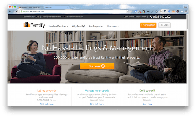 Homepage screenshot of London landlord marketing agency , Rentify.