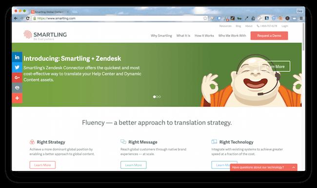Homepage screenshot of New York marketing translation agency, Smartling.