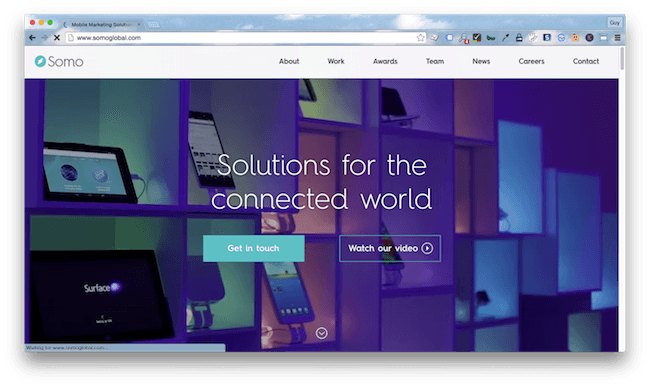 Homepage screenshot of London digital marketing solutions agency, Somo.