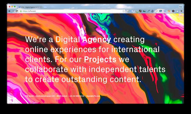 Homepage screenshot of Zurich marketing agency, Y7K.