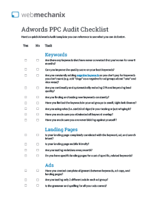 Cover of PPC Audit Checklist
