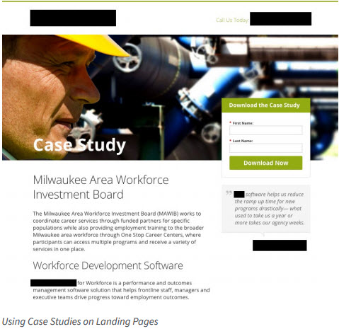 Using case studies on landing pages