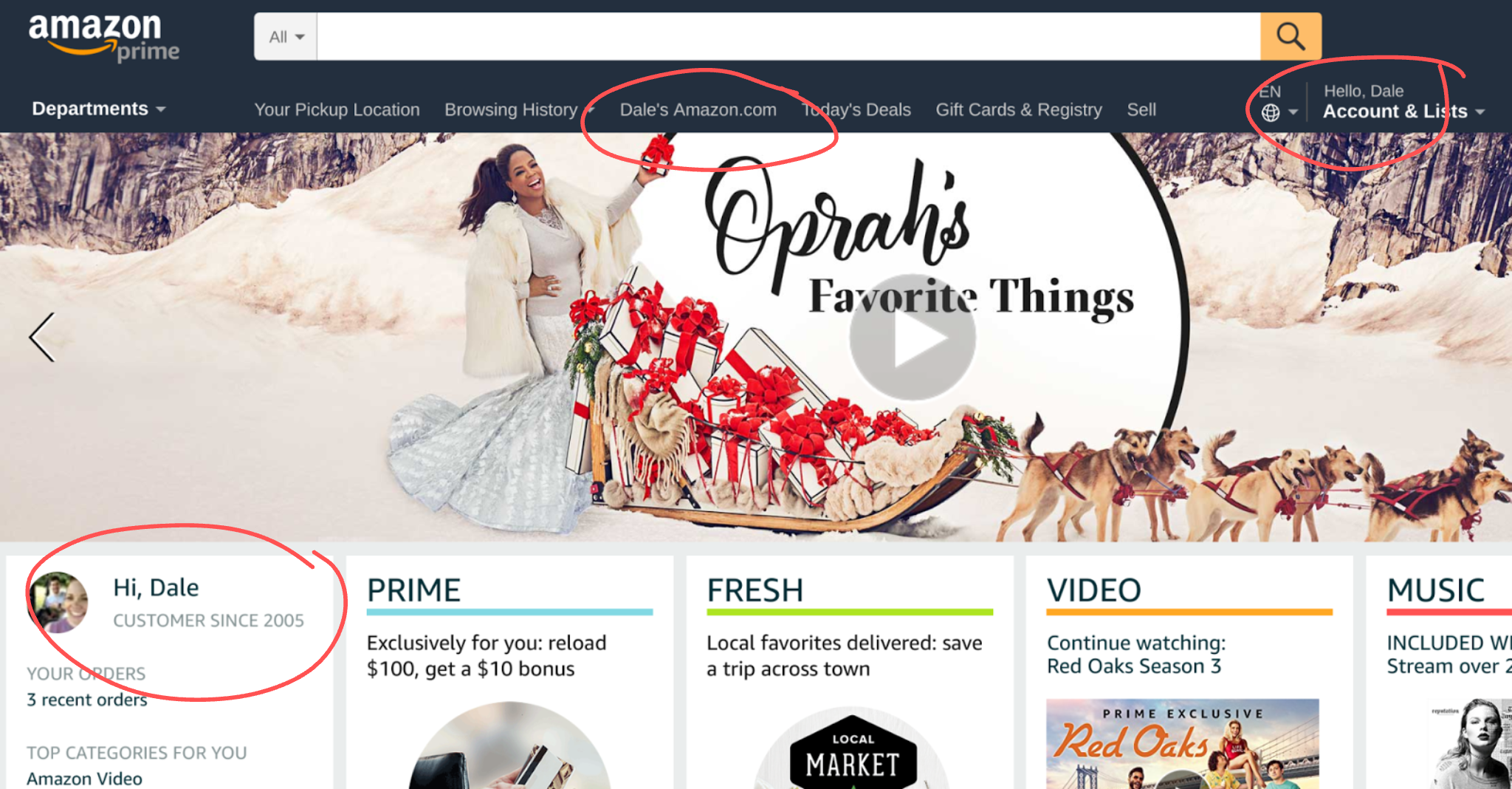 Screenshot demonstrating Amazon personalization