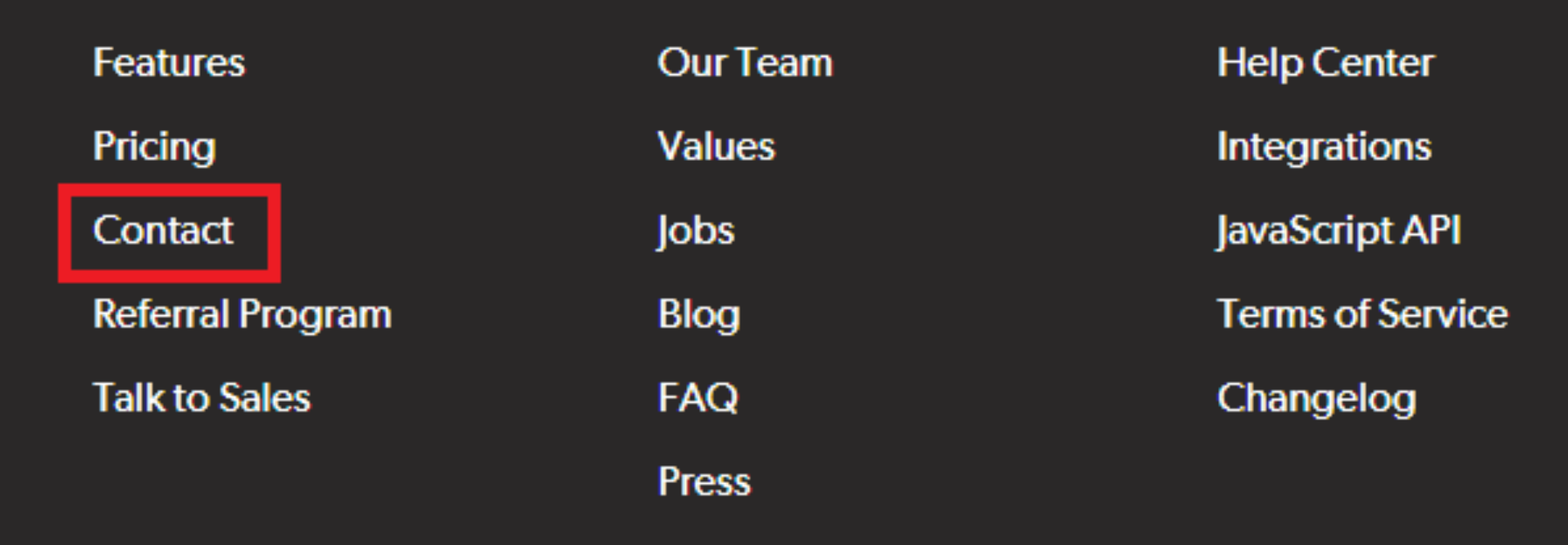 Sample footer menu with only place to Contact