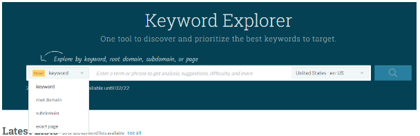moz pro comparison keyword explorer and keyword research