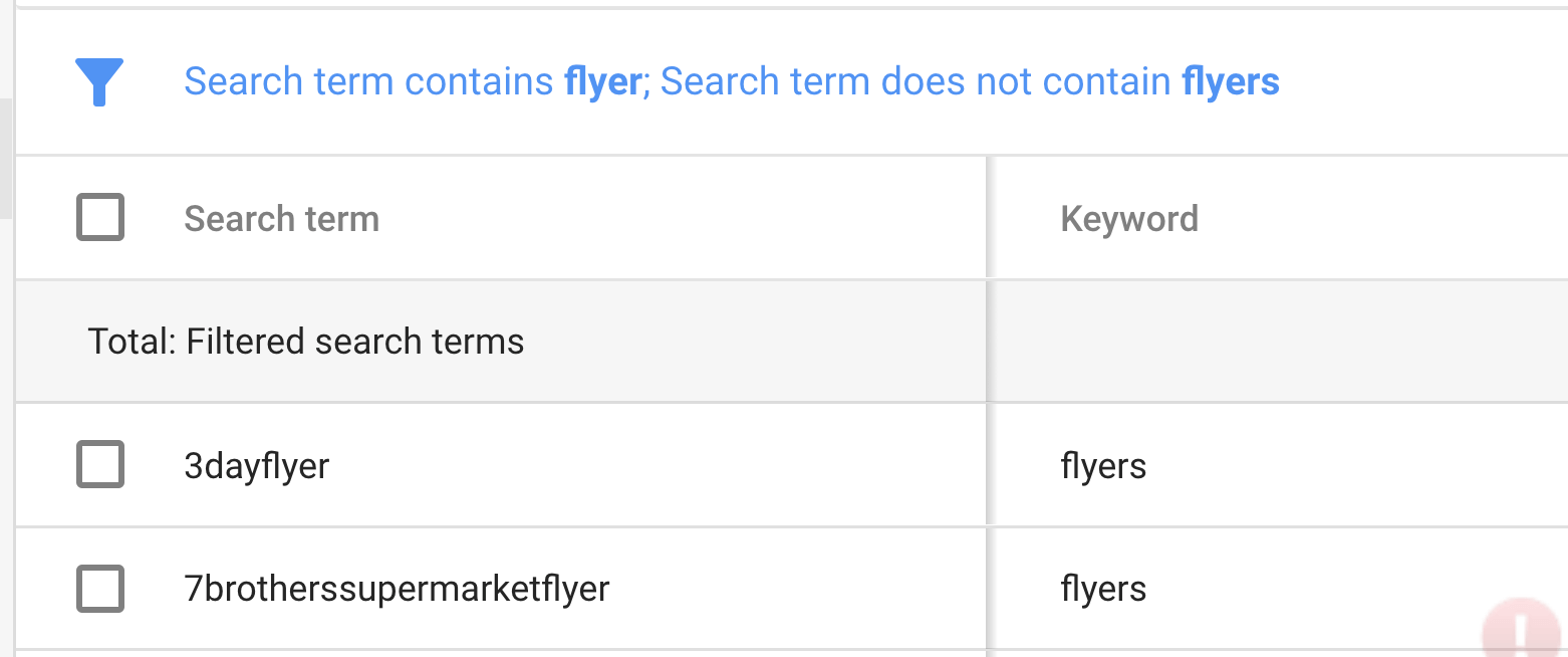 Flyer Filter AdWords Negative Example for Ecommerce