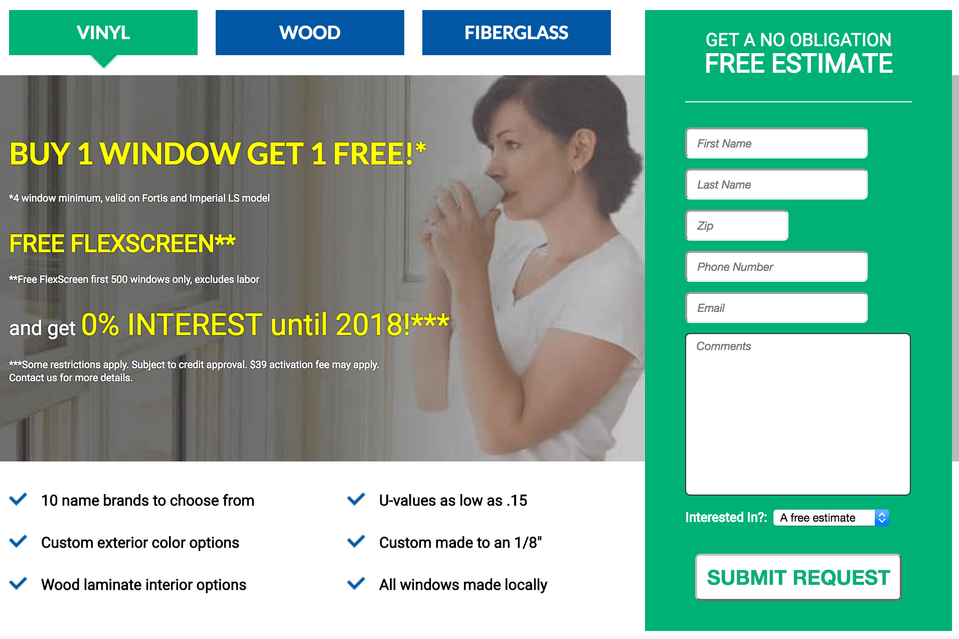 Window contractor original landing page