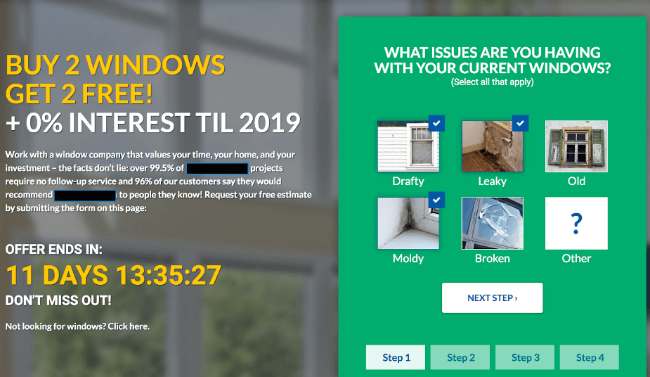 New wizard quiz landing page for window contractor