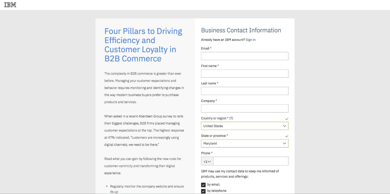 IBM B2B SaaS Landing Page CRO tips