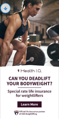 Healthy IQ lifting weights display ad example