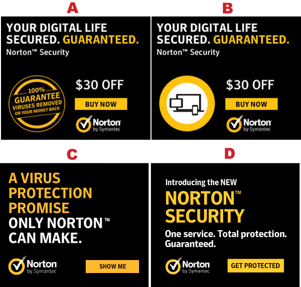 Four types of Norton ads copy examples