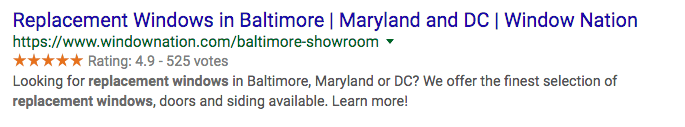 Rich Snippets SERP feature example