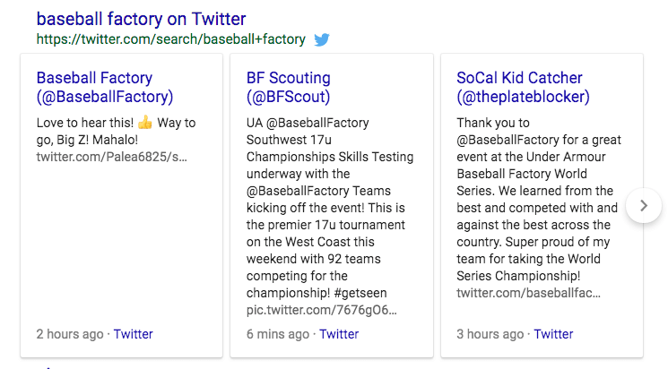 Twitter Results SERP Feature example