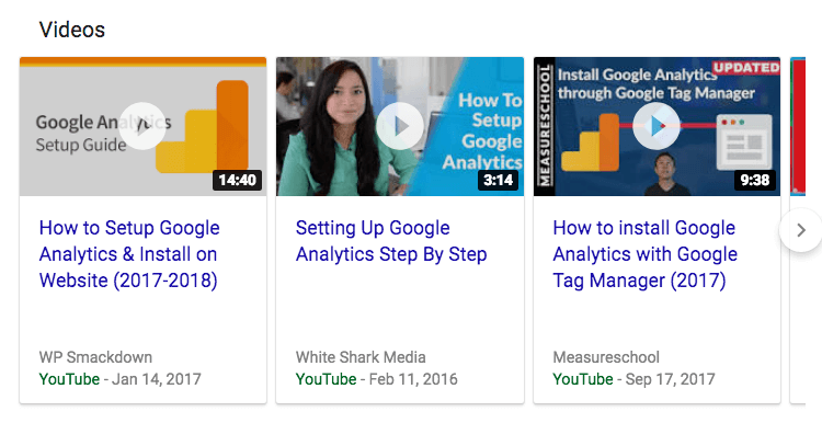SERP features Video results example