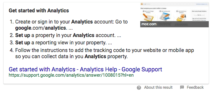 Numbered Lists SERP feature example