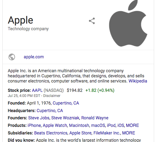 Knowledge Graphs SERP feature example
