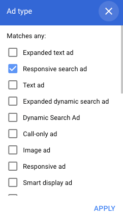 responsive search ad type in filtering dropdown
