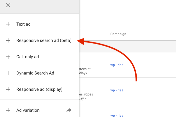 Select Responsive search ad in Google Ads