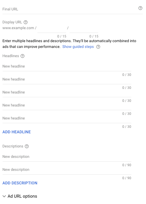 Responsive ads example of headlines and descriptions